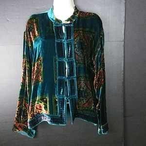 Chico's asian-inspired velvet blouse. 14.